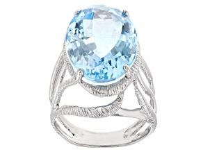 Sky Blue Topaz Rhodium Over Silver Ring 15.00ctw