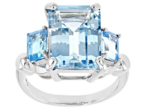 Blue Topaz Rhodium Over Silver Ring 9.0ctw