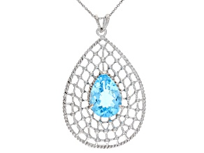 Sky Blue Topaz Rhodium Over Silver Pendant With Chain 14.00ctw