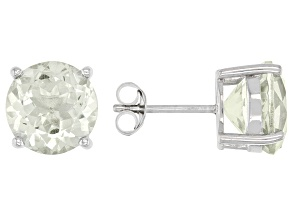 Green Amethyst Rhodium Over Silver Stud Earrings 8.00ctw