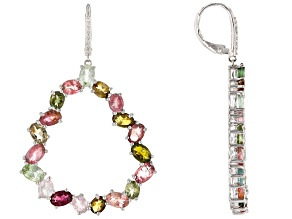 Multi-color Tourmaline Rhodium Over Silver Earrings 11.62ctw