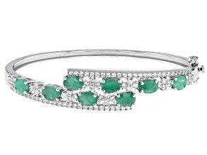 Emerald Rhodium Over  Silver Bypass Bracelet 5.5ctw