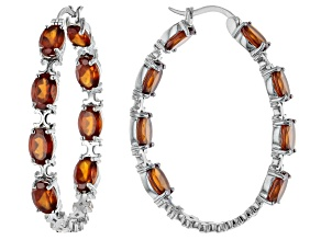 Hessonite Rhodium Over Sterling Silver Hoop Earrings