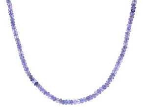 Blue Tanzanite Rhodium Over Sterling Silver Beaded Necklace 90ctw