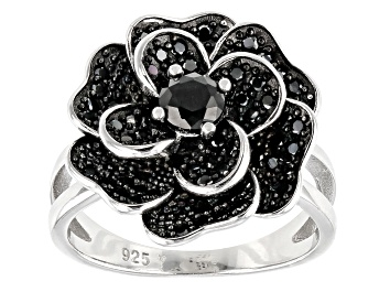 Picture of Black Spinel Rhodium Over Sterling Silver Flower Ring 1.10ctw