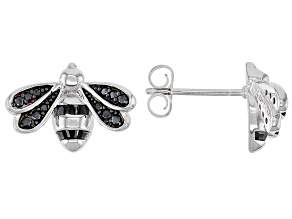 Black Spinel Rhodium Over Silver Bumble Bee Earrings 0.46ctw