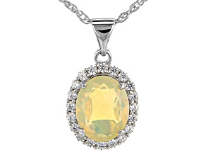 "Multi Color Ethiopian Opal Rhodium Over Sterling Silver Pendant with 18"" Chain"