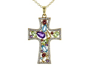 Multi Stone 18k Yellow Gold Over Sterling Silver Pendant with Chain 1.60ctw