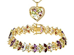 Multi Gemstone 18k Yellow Gold Over Bronze Pendant and Bracelet Set 24.72ctw
