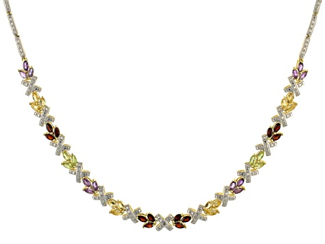 Mutli Stone 18k Yellow Gold Over Sterling Silver Necklace 6.00ctw
