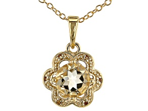 Golden Citrine 18k Yellow Gold Over Sterling Silver Floral Shaped Pendant with Chain 1.25ctw