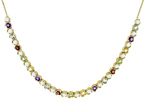 Multi Stone 18k Yellow Gold Over Sterling Silver Necklace 4.15ctw