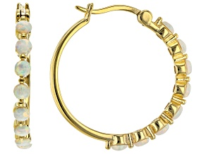 White Lab Created Opal 18k Yellow Gold Over Sterling Silver Hoop Earrings