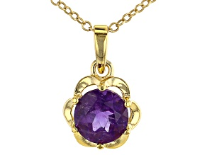 Purple Amethyst 18k Yellow Gold Over Sterling silver Pendant with Chain 1.00CTW