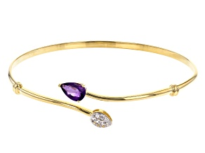 Purple Amethyst 18k Yellow Gold Over Sterling Silver Cuff 1.45ctw