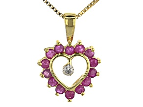 "Red Ruby 18k Yellow Gold Over Sterling Silver Heart Shaped Pendant with 16"" Chain"