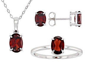 Garnet Rhodium Over Sterling Silver Jewelry Set 4.10ctw