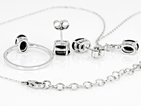 Black Spinel Rhodium Over Sterling Silver Jewelry Set 3.20ctw