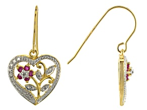 Red Ruby 18k Yellow Gold Over Sterling Silver Heart Shaped Earrings 0.31ctw