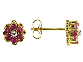 Red Ruby 18k Yellow Gold Over Sterling Silver Floral Earring