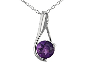 "African Amethyst Rhodium Over Sterling Silver Pendant with 18"" Chain 0.80ct"