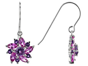 Lab Created Pink Sapphire Rhodium Over Silver Dangle Earrings