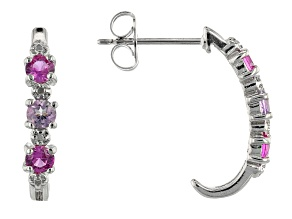 Lab Created Pink Sapphire Rhodium Over Silver J Hoop Earrings 0.65ctw