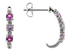 Lab Created Pink Sapphire Rhodium Over Silver J Hoop Earrings 0.65ctw