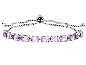 Purple Amethyst Rhodium Over Sterling Silver Bolo Bracelet 3.85ctw