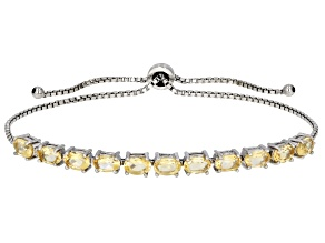 Yellow Citrine Rhodium Over Sterling Silver Bolo Bracelet 3.96ctw