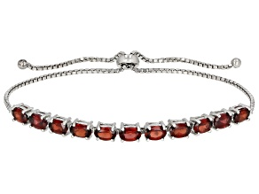 Red Garnet Rhodium Over Sterling Silver Bolo Bracelet 5.50ctw