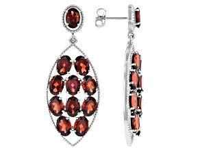 Garnet Rhodium Over Silver Earrings 20.49ctw