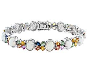 Ethiopian Opal Rhodium Over Sterling Silver Bracelet 21.72ctw