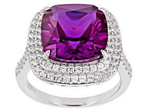 Lab Created Purple Sapphire Rhodium Over Silver Ring 9.25ctw