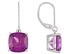 Lab Created Purple Sapphire Rhodium Over Silver Earrings 7.00ctw