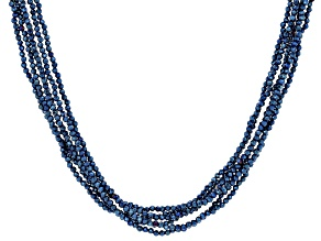 Cobalt Blue Color Spinel Rhodium Over Silver Multi Strand Beaded Necklace