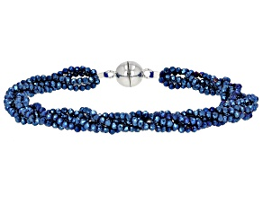Cobalt Blue Color Black Spinel Rhodium Over Silver Multi Strand Beaded Bracelet