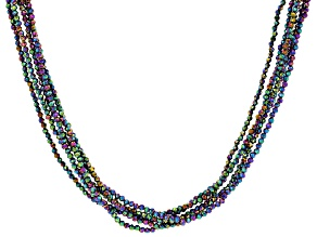 Rainbow Color Black Spinel Rhodium Over Sterling Beaded Multi Strand Necklace