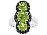 Green Peridot Rhodium Over Sterling Silver Ring 4.20ctw