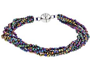 Rainbow Color Spinel Rhodium Over Sterling Silver Multi Strand Bracelet