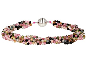 Multi Color Tourmaline Rhodium Over Sterling Silver Beaded Bracelet