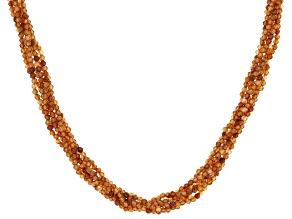 Mandarin Garnet Rhodium Over Sterling Silver Beaded Multi Strand Necklace