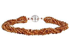 Mandarin Garnet Rhodium Over Sterling Silver Beaded Multi Strand Bracelet