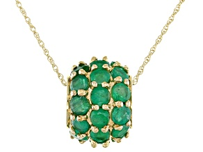 Emerald 10K Yellow Gold Slide With Chain 3.00ctw