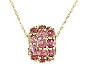 Pink Tourmaline 14K Yellow Gold Slide With Chain 3.00ctw