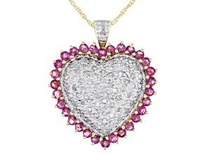 Red Ruby 10K Gold Heart Pendant With Chain 1.18ctw