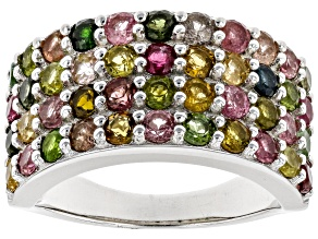 Multi Tourmaline Rhodium Over Sterling Silver Ring 2.86ctw