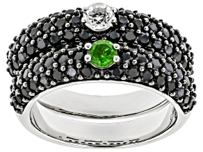 Chrome Diopside Rhodium Over Sterling Silver Ring Set Of 2.55ctw