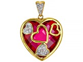 Lab Created Ruby 18k Yellow Gold Over Sterling Silver Pendant 14.13ctw