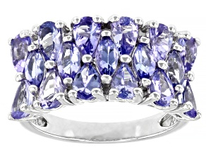 Blue Tanzanite Rhodium Over Sterling Silver Ring 2.80ctw